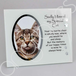 Sadly Missed My Special Cat Pet Photo Frame (4 x 6 inch) - Angraves Memorials