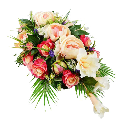 Pearle Large Artificial Flower Teardrop Memorial Arrangement