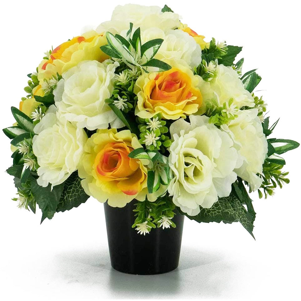Lydia Yellow & White Roses Artificial Flower Memorial Arrangement