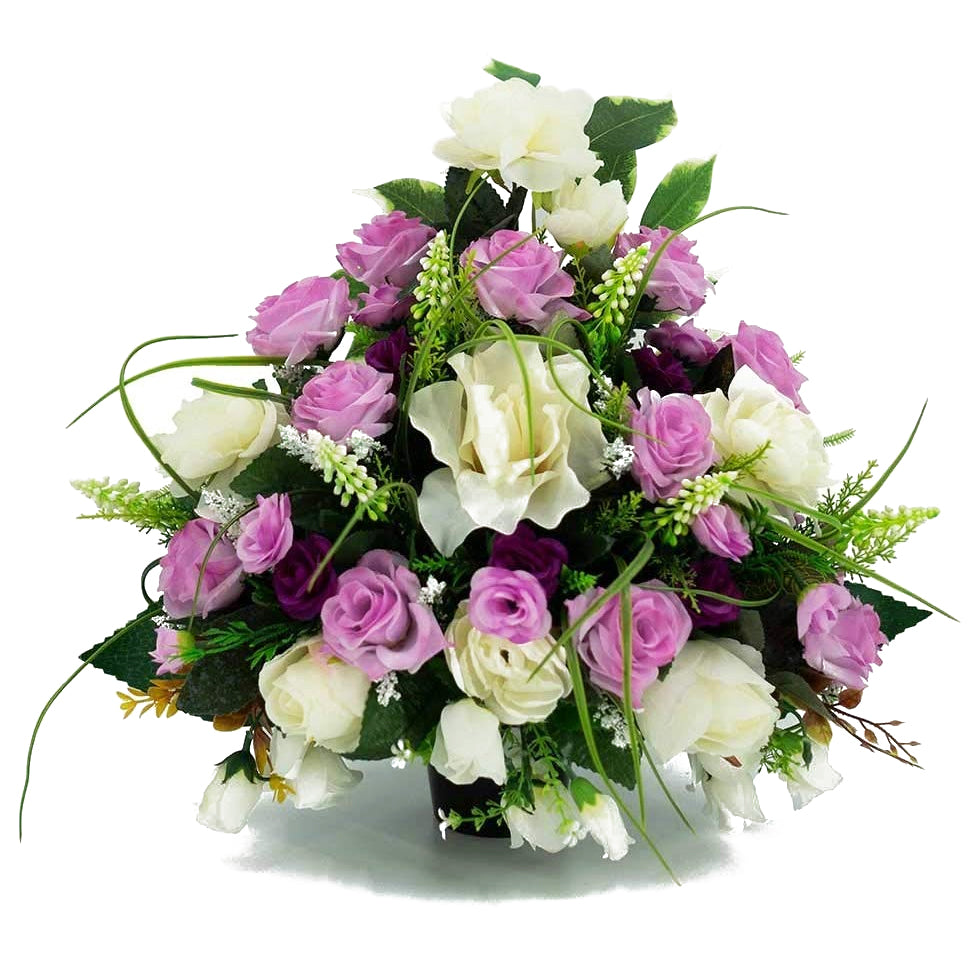 Mina Pink & White Roses Artificial Flower Memorial Arrangement