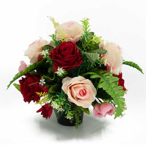 Tori Red & Pink Roses Artificial Flower Arrangement