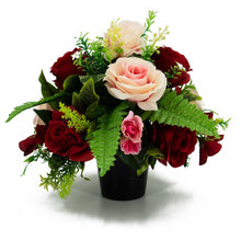 Load image into Gallery viewer, Tori Red & Pink Roses Artificial Flower Arrangement