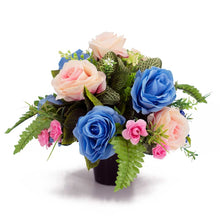 Load image into Gallery viewer, Wren Blue & Pink Rose Artificial Flower Memorial Arrangement