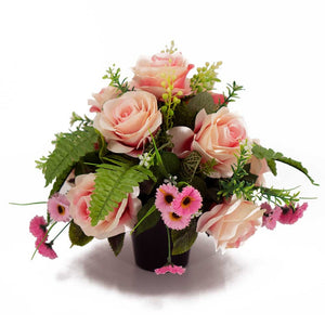 Diana Pretty Pink Roses Artificial Memorial Flower Arrangement