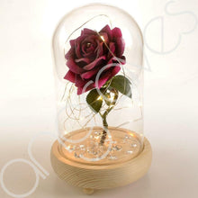 Load image into Gallery viewer, Glitter Pink Handmade Enchanted Rose with Glass Dome Bell Jar and LED Lights (23cm) - Angraves Memorials