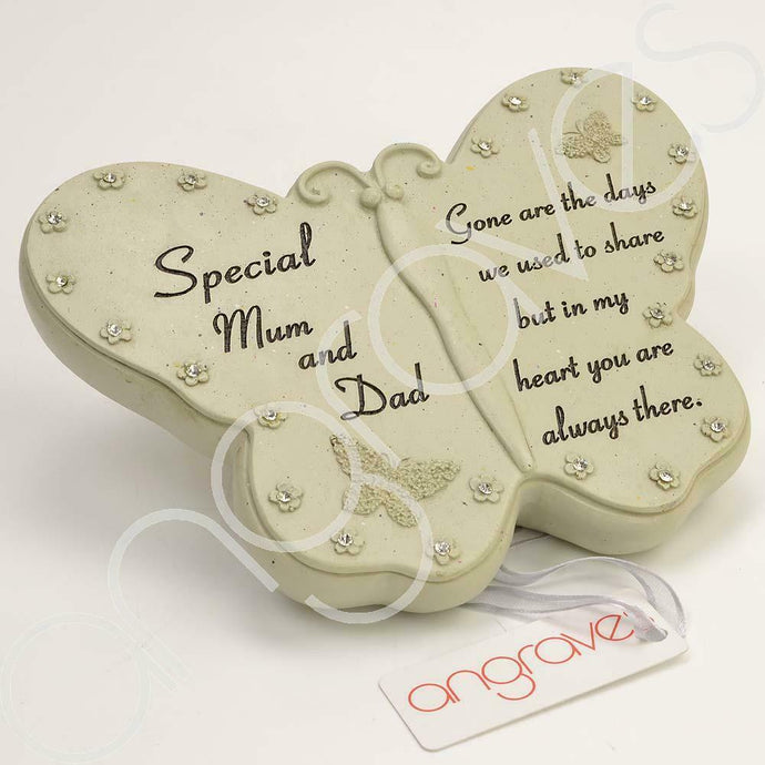 Special Mum & Dad Diamante Flower Butterfly Ornament - Angraves Memorials