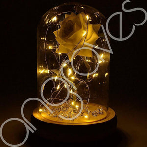 Magical White Handmade Enchanted Rose in Glass Dome Bell Jar with LED Lights - Angraves Memorials
