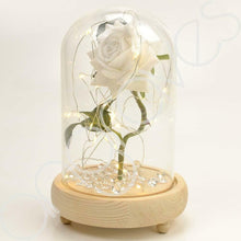 Load image into Gallery viewer, Magical White Handmade Enchanted Rose in Glass Dome Bell Jar with LED Lights - Angraves Memorials