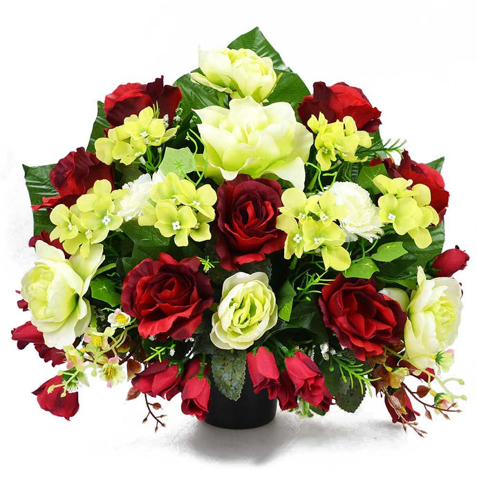 Nor Red Green Rose Artificial Flower Memorial Arrangement