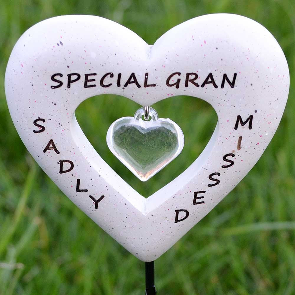 Sadly Missed Special Gran Love Heart Memorial Remembrance Stick