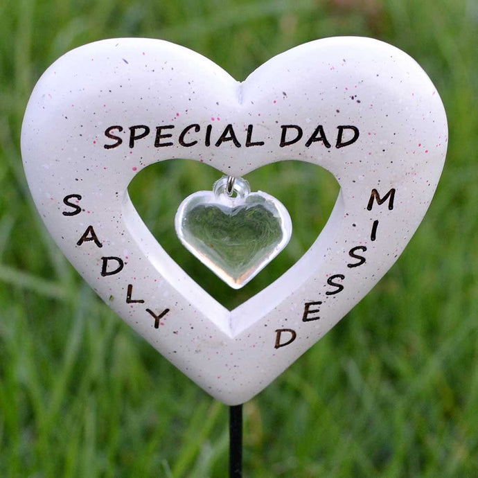 Sadly Missed Special Dad Love Heart Memorial Remembrance Stick
