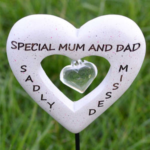Sadly Missed Special Mum & Dad Love Heart Memorial Remembrance Stick