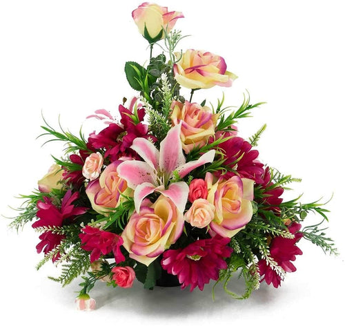 Teagan Pink Rose Artificial Flower Memorial Arrangement
