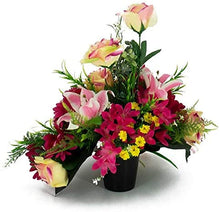 Load image into Gallery viewer, Teagan Pink Rose Artificial Flower Memorial Arrangement