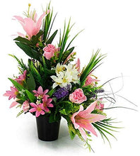 Load image into Gallery viewer, Maci Pink Lily & Rose Artificial Flower Memorial Arrangement