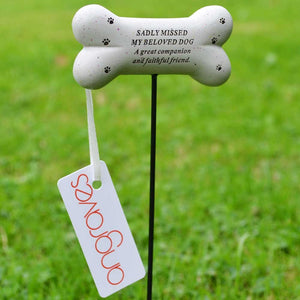 Beloved Dog Sadly Missed Bone Pet Memorial Remembrance Stick
