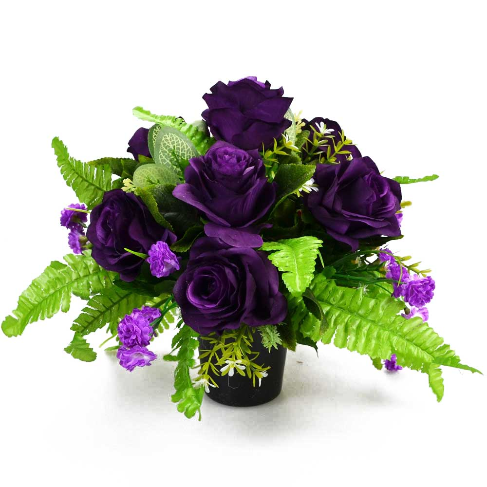 Aubrey Purple Roses Artificial Flower Memorial Arrangement