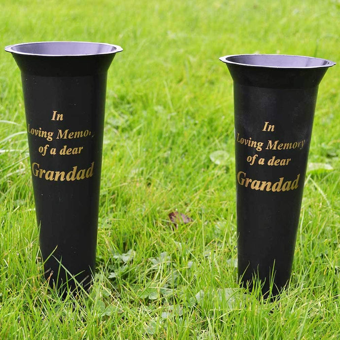Set of 2 Grandad In Loving Memory Spiked Memorial Grave Flower Vases Holder