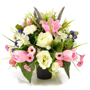 Eva Pink Rose & Lily Artificial Flower Memorial Arrangement