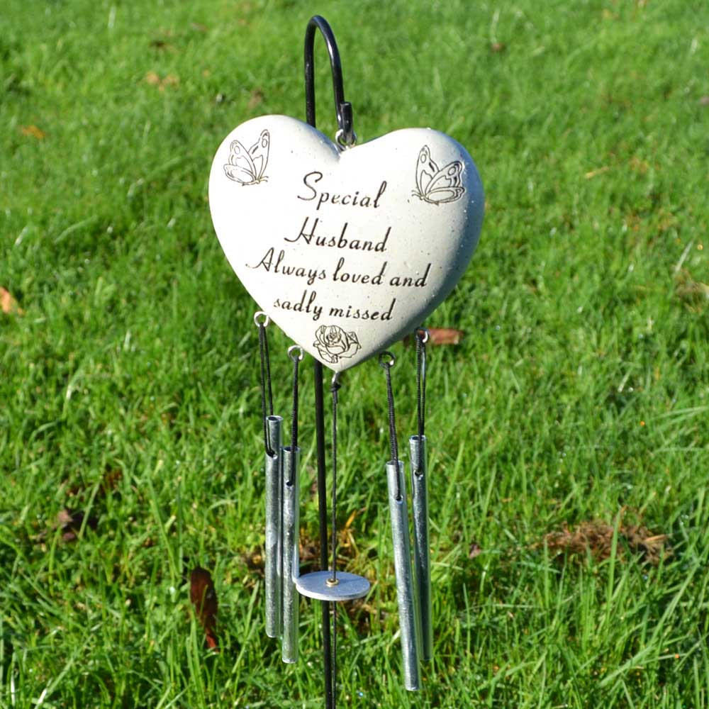 Special Husband Always Loved Sadly Missed Heart Wind Chime - Angraves Memorials