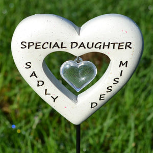 Sadly Missed Special Daughter Love Heart Memorial Remembrance Stick