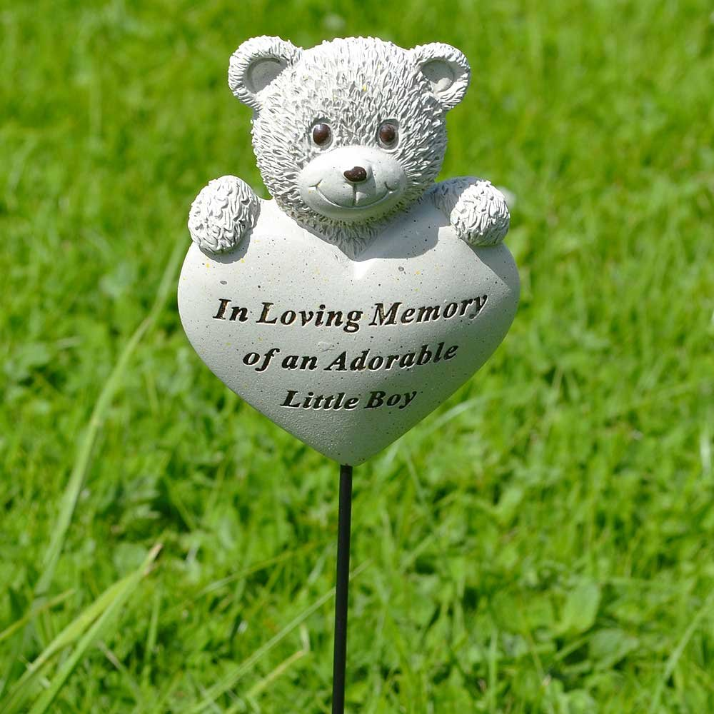 Adorable Little Boy Teddy Bear Heart Memorial Remembrance Stick