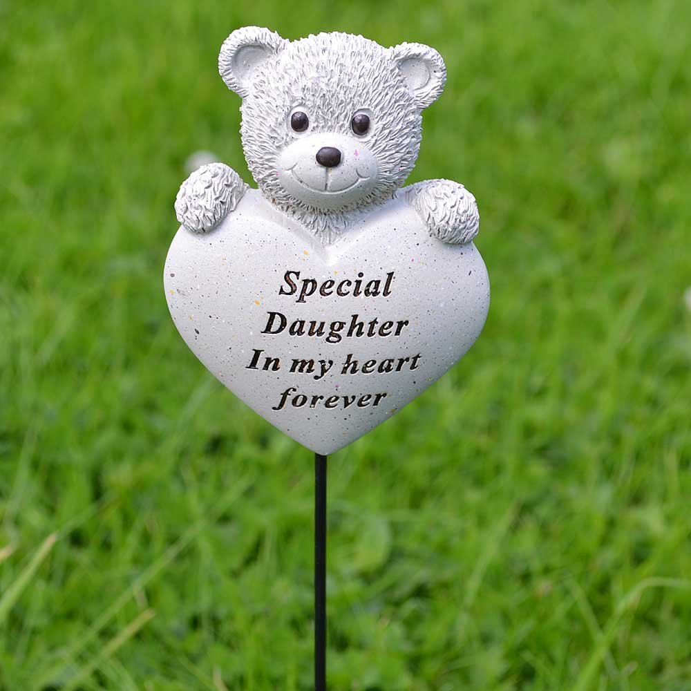 Special Daughter Teddy Bear Heart Memorial Remembrance Stick