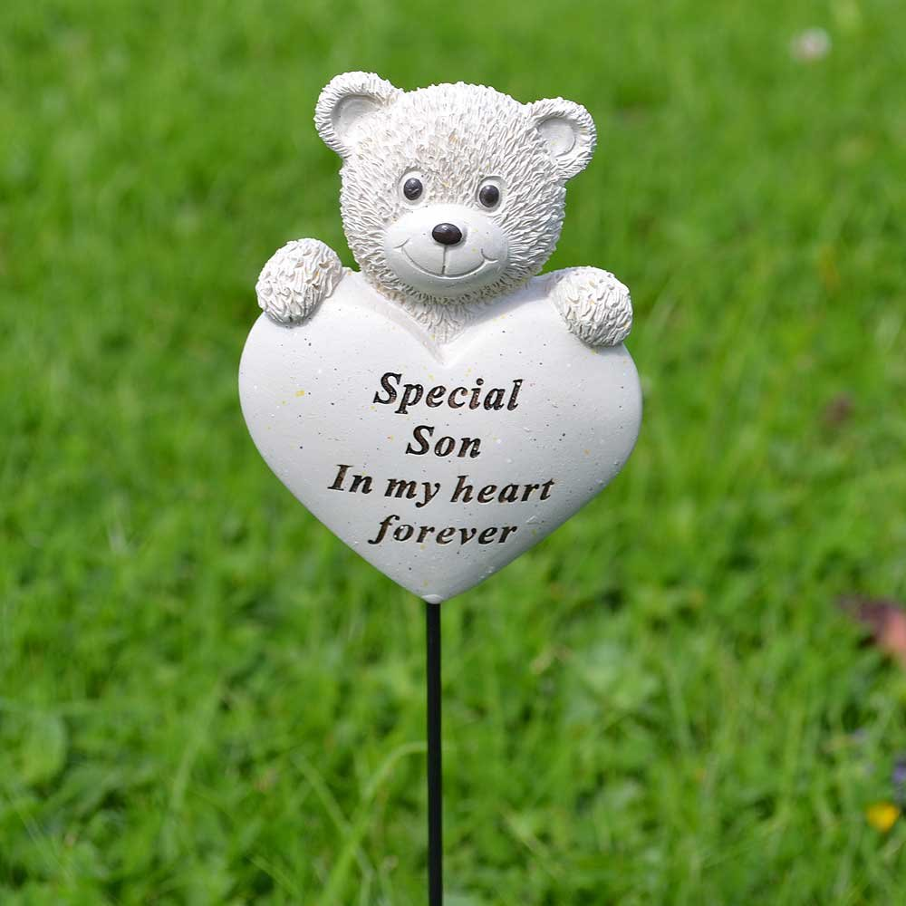 Special Son Teddy Bear Heart Memorial Remembrance Stick