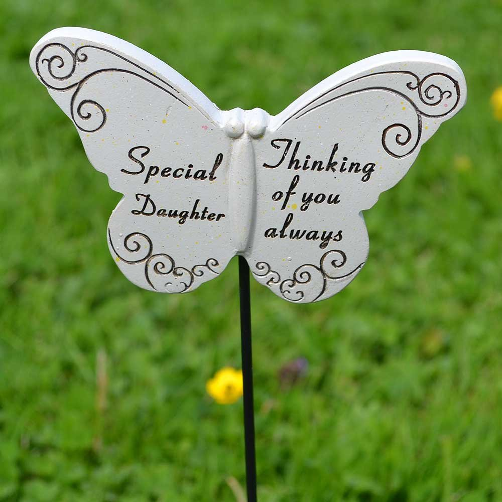 Thinking of you Always Special Daughter Butterfly Memorial Remembrance Stick