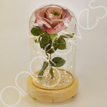 Load image into Gallery viewer, Vintage Pink Handmade Enchanted Rose in Glass Dome Bell Jar with LED Lights