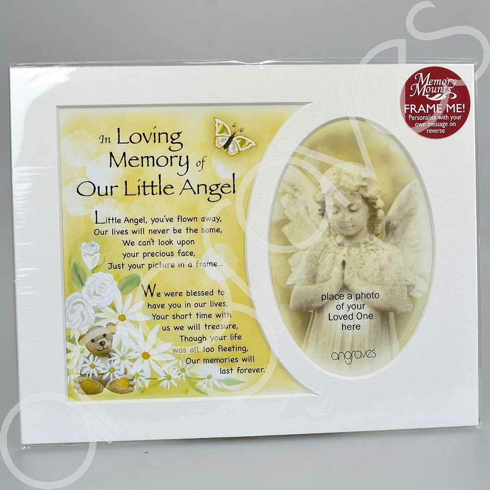 In Loving Memory of Our Little Angel Memorial Photo Frame Mount - Angraves Memorials