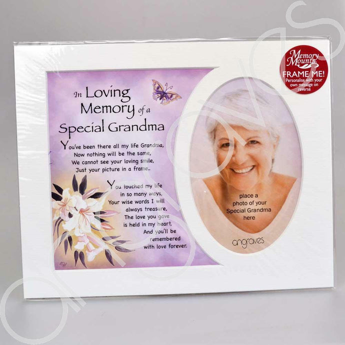 In Loving Memory of a Special Grandma Memorial Photo Frame Mount - Angraves Memorials