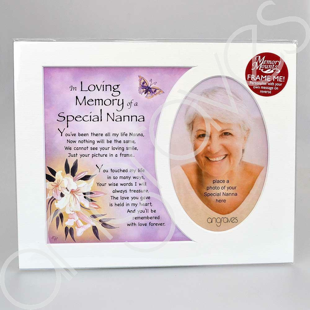 In Loving Memory of a Special Nanna Memorial Photo Frame Mount - Angraves Memorials