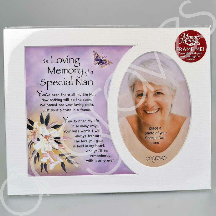 In Loving Memory of a Special Nan Memorial Photo Frame Mount - Angraves Memorials