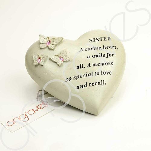 Special Sister Heart Butterfly Pink Gemstone Ornament