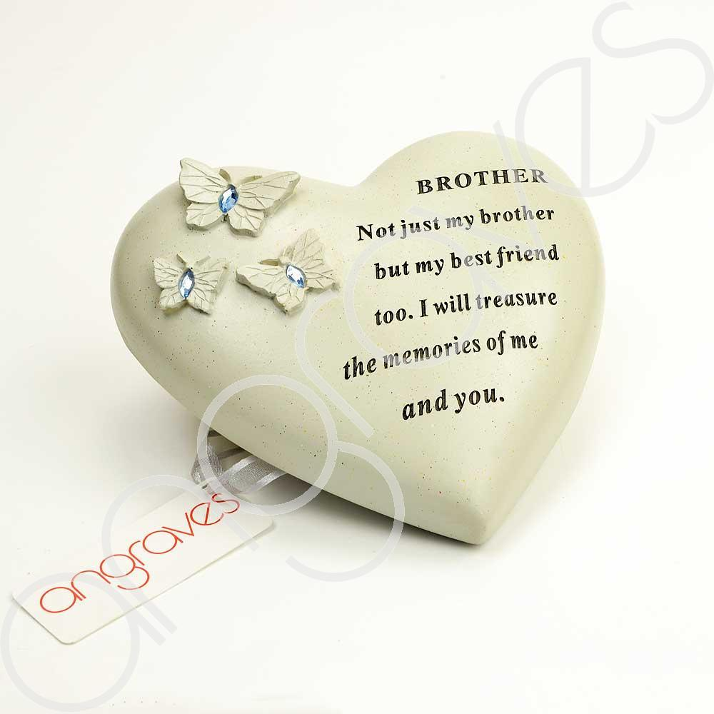 Special Brother Heart Butterfly Blue Gemstone Ornament - Angraves Memorials
