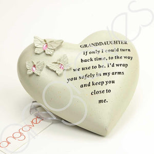 Special Granddaughter Heart Butterfly Pink Gemstone Ornament - Angraves Memorials