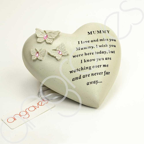 Special Mummy Heart Butterfly Pink Gemstone Ornament - Angraves Memorials