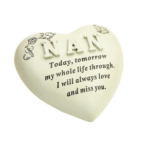 Special Nan Diamante Textured Heart Memorial Ornament