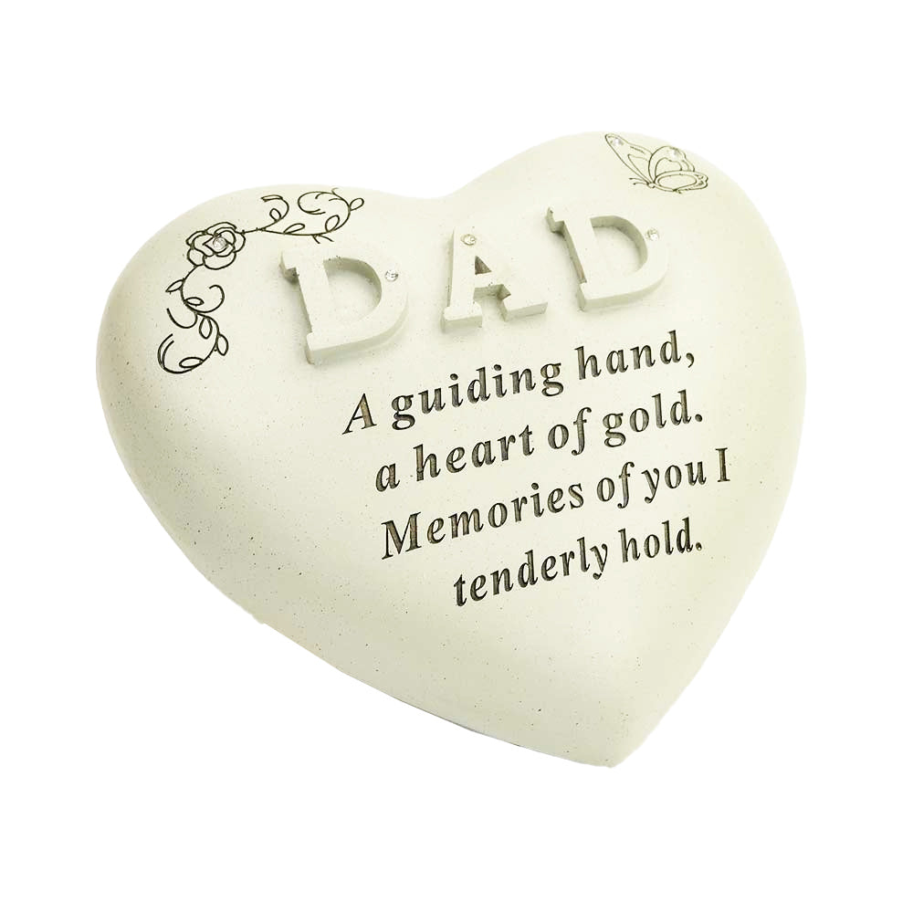 Special Dad Diamante Textured Heart Memorial Ornament