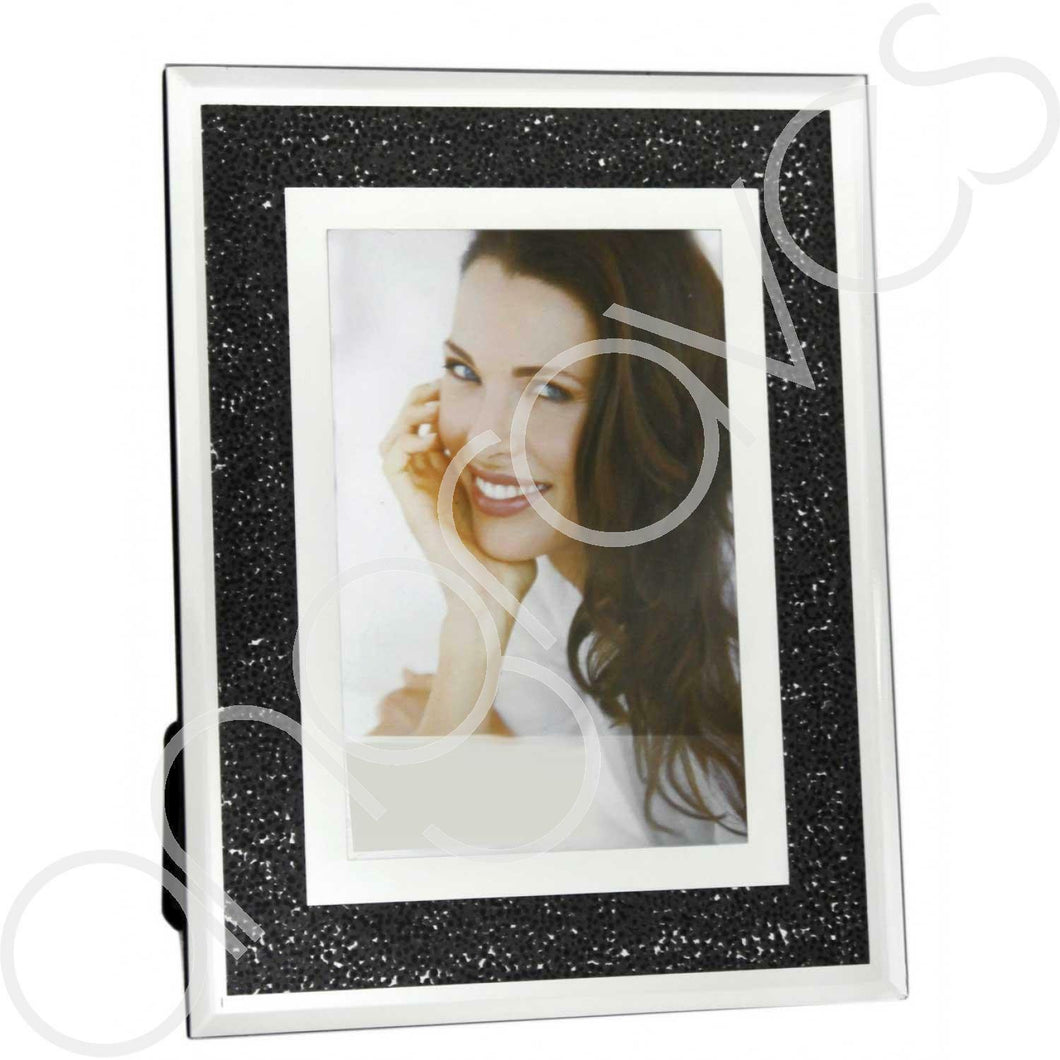 Black Diamond Crush Sparkle Photo Frame (4 x 6 Inch) - Angraves Memorials