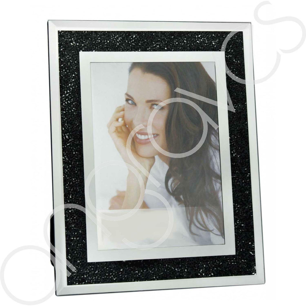 Black Diamond Crush Sparkle Photo Frame (5 x 7 inch) - Angraves Memorials