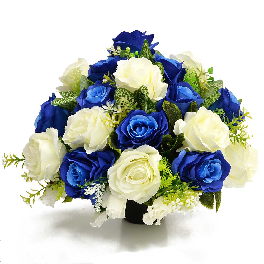 Neptune Blue & White Rose Artificial Flower Memorial Arrangement