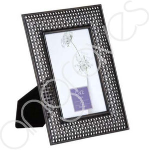 Black Crosshatch Metal Photo Frame (4x6 Inch) - Angraves Memorials