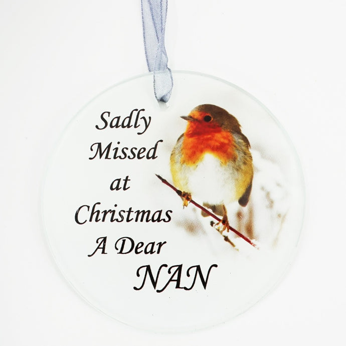 Nan Christmas Robin Memorial Tree Hanging Decoration