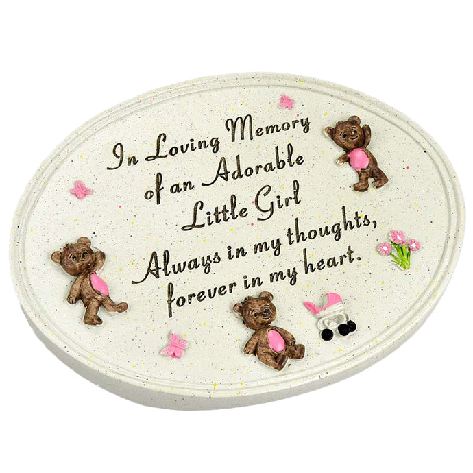 Adorable Little Girl Graveside Memorial Teddy Plaque Ornament Grave Decoration