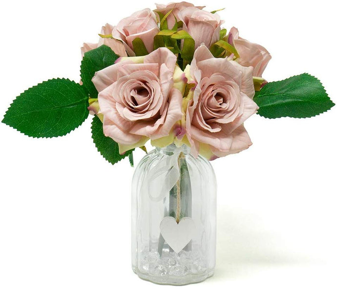 Blush Pink Rose Artificial Flower Arrangement In Heart Glass Vase