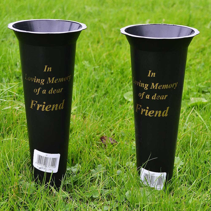 Set of 2 Friend In Loving Memory Spiked Memorial Grave Flower Vases