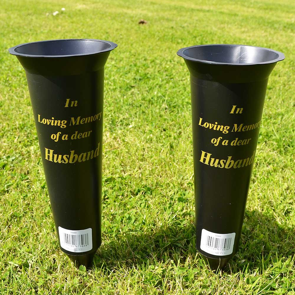 Set of 2 Husband In Loving Memory Spiked Memorial Grave Flower Vases