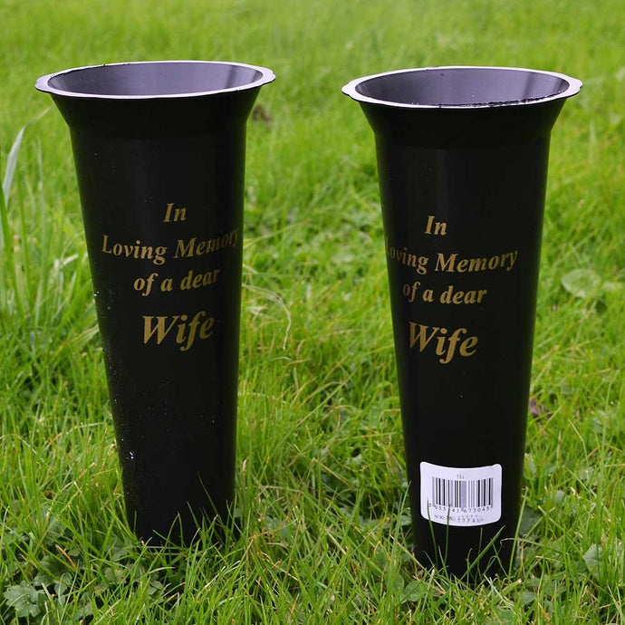 Set of 2 Wife In Loving Memory Spiked Memorial Grave Flower Vases